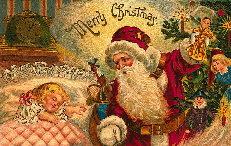 free christmas postcards - santa and sleeping child
