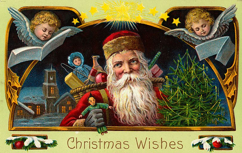 free christmas postcards - santa christmas wishes