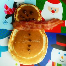 christmas foods - snowman pancake